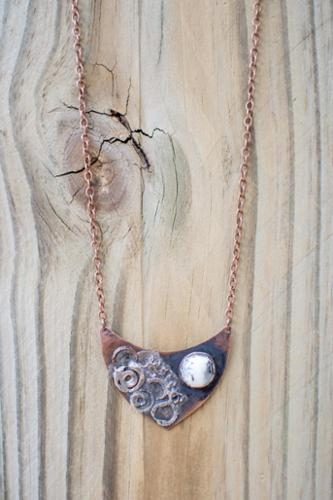 Bi-metal fused copper pendant with dendritic stone soldered setting