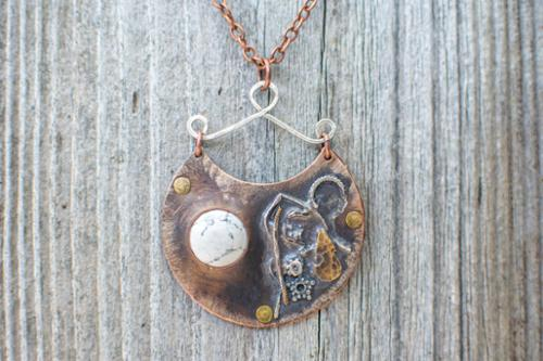 Bi-metal sterling silver and copper pendant with Howlite natural ston