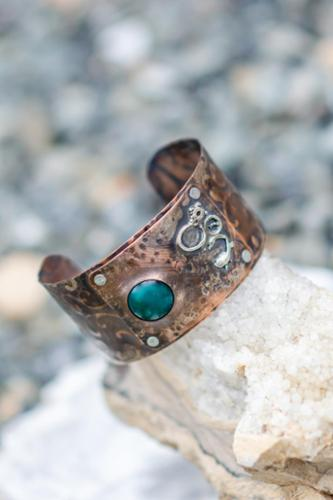 Bi-metal sterling and copper bracelet with chrysacola stone riveted to embossed copper bracelet