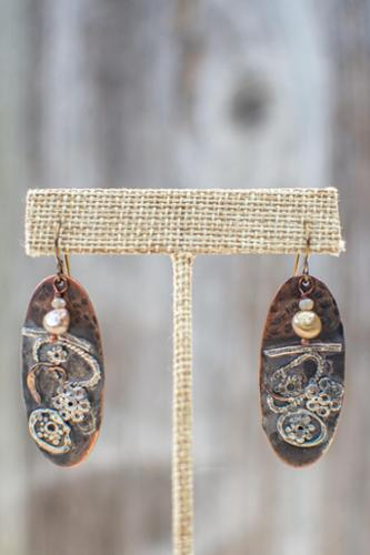 Bi-metal sterling and copper earrings with natural pearl accent and niobium steel earwires