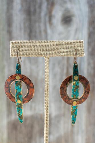 Copper riveted earrings with alcohol ink patina on niobium earwires